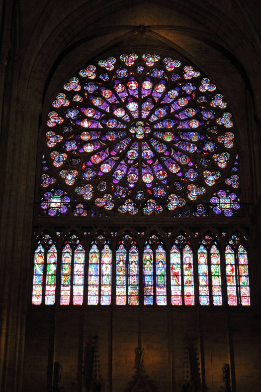 Stained glass rose window, Notre Dame, Paris