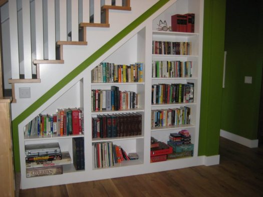 books under the stairs