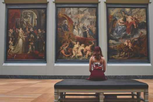 red art relaxation girl