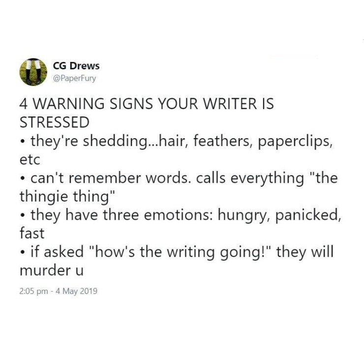 warning signs your writer is stressed