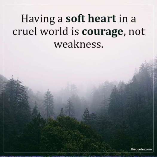 Having a soft heart in a cruel world is courage, not weakness. Quote of the Day via Aspasia S. Bissas