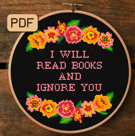 i will read books and ignore you, literary needlepoint by aspasia s. bissas