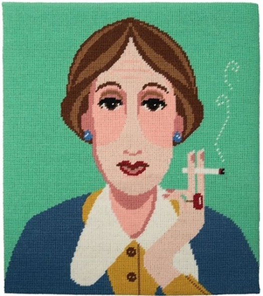 virginia woolf tapestry, literary embroidery by Aspasia S. Bissas