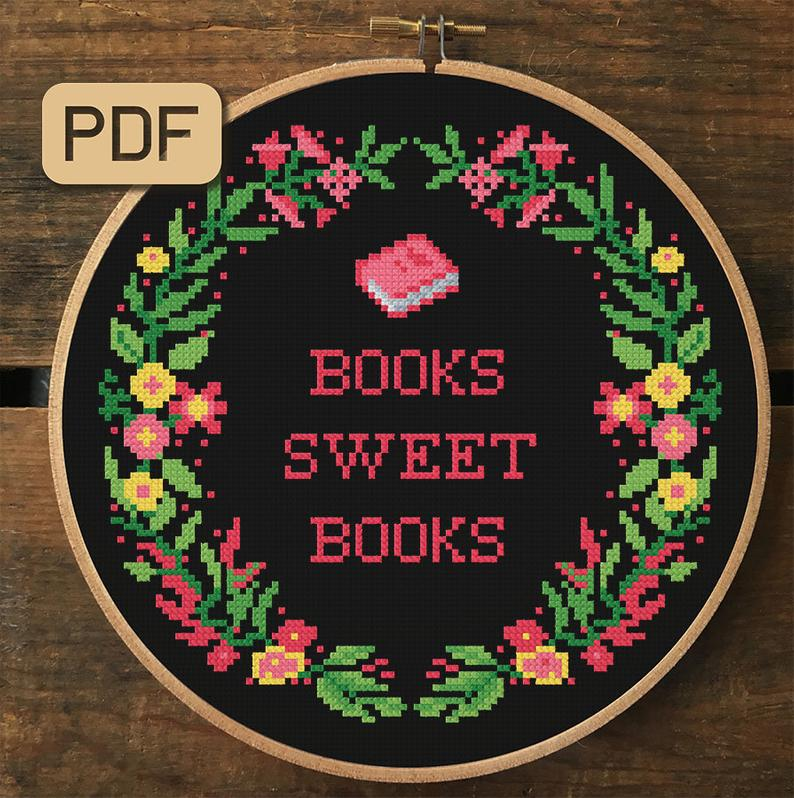 More Awesome Literary Embroidery, blog post by Aspasia S. Bissas, needlepoint, embroidery, cross-stitch, cross stitch, crossstitch, patterns, free patterns, books, reading, bookish, literary, aspasiasbissas.com, books sweet books, etsy, pattern download