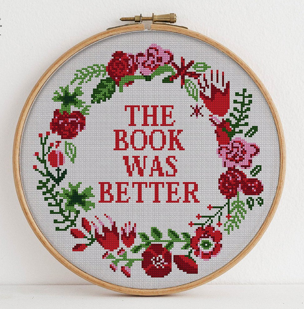 More Awesome Literary Embroidery, blog post by Aspasia S. Bissas, needlepoint, embroidery, cross-stitch, cross stitch, crossstitch, patterns, free patterns, books, reading, bookish, literary, aspasiasbissas.com, the book was better, etsy, pattern dowload