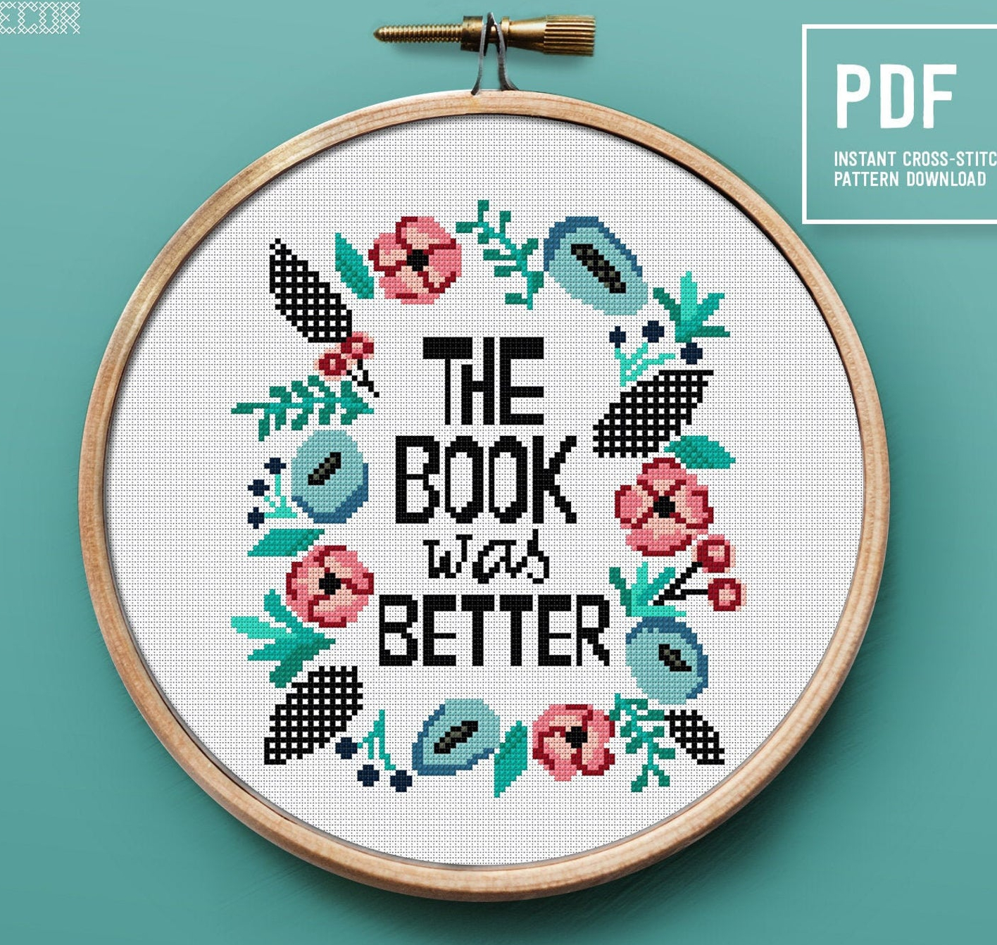 More Awesome Literary Embroidery, blog post by Aspasia S. Bissas, needlepoint, embroidery, cross-stitch, cross stitch, crossstitch, patterns, free patterns, books, reading, bookish, literary, aspasiasbissas.com, the book was better, etsy, pattern download
