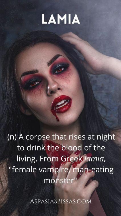 6 Words About Vampires, blog post by Aspasia S. Bissas, lamia, vampire, vampires, word, words, vocabulary, pinnable image, aspasiasbissas.com