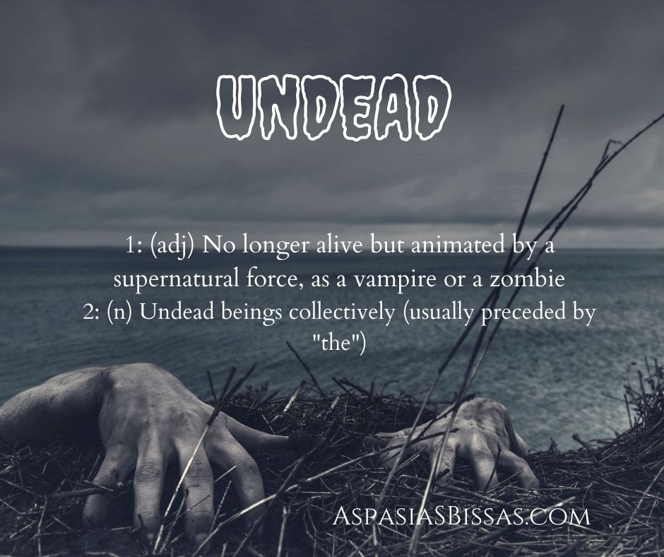 6 Words About Vampires, blog post by Aspasia S. Bissas, word, words, vocabulary, vampire, vampires, undead, zombies, pinnable image, aspasiasbissas.com