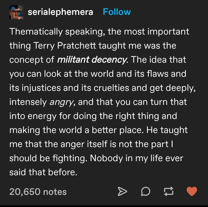 Quote of the Day, blog post by Aspasia S. Bissas, aspasiasbissas.com. Quote, militant decency, anger, injustice, terry pratchett, anger is energy, make the world better, do the right thing.