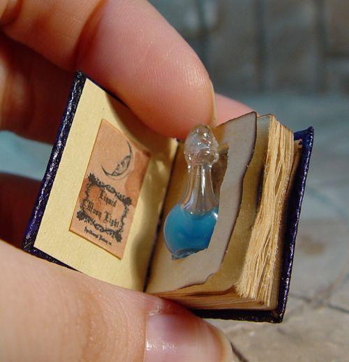 Books in Miniature, blog post by Aspasia S. Bissas, aspasiasbissas.com. Books, mini books, miniatures, dollhouse, dollhouse furniture, mini rooms, 1:12 scale, secret potion