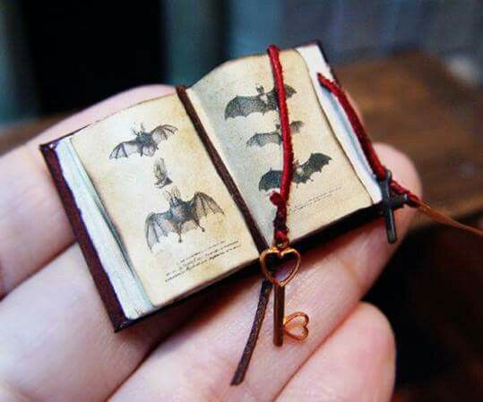 Books in Miniature, blog post by Aspasia S. Bissas, aspasiasbissas.com. Books, mini books, miniatures, dollhouse, dollhouse furniture, mini rooms, 1:12 scale, illustrated, illustrations, bats, Pinterest