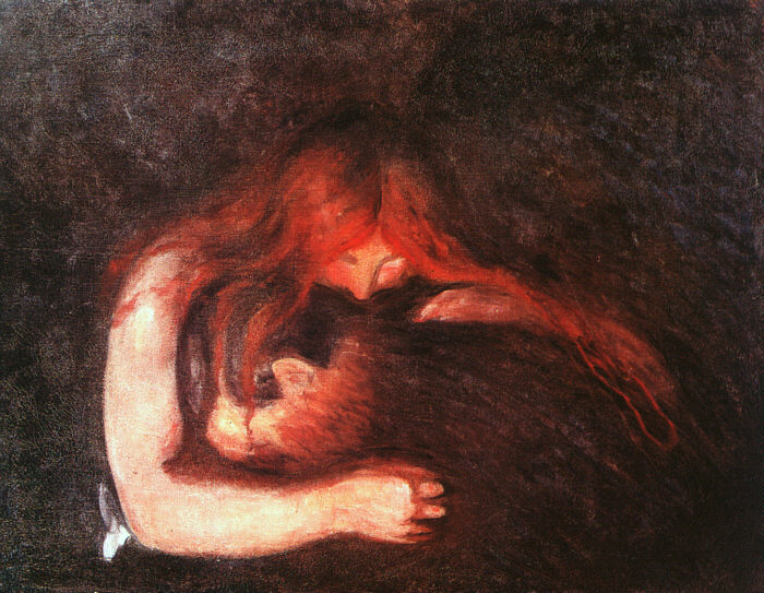 """Yet Another 5 Vampires You May Not Have Heard Of. blog post by Aspasia S. Bissas. aspasiasbissas.com. empusa, greek mythology, """"Love and Pain (The Vampire)"""" by Edvard Munch"""
